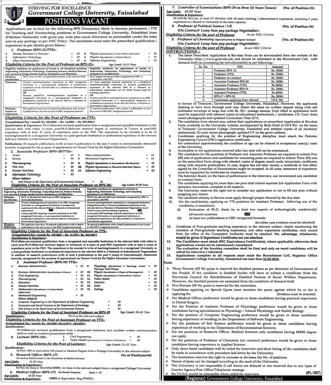GC University Faisalabad Jobs 2019 -thumbnail