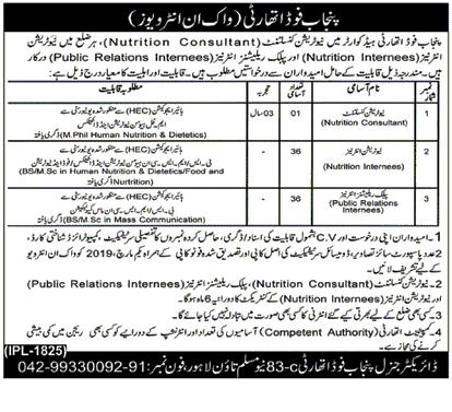 Punjab Food Authority Jobs 2019