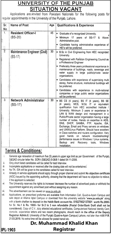 University Of The Punjab Jobs 2019