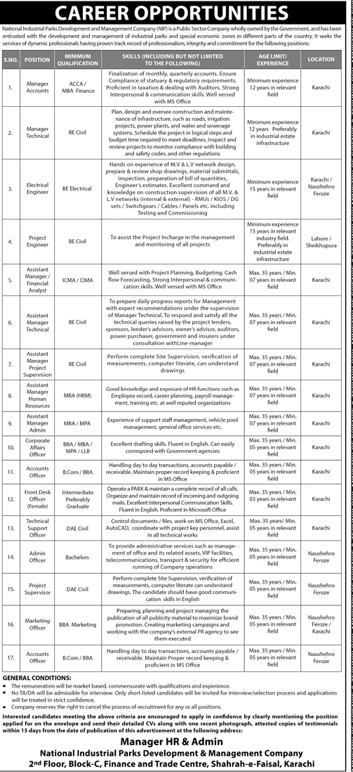 NIP Jobs 2019 National Industrial Parks Development Management Company