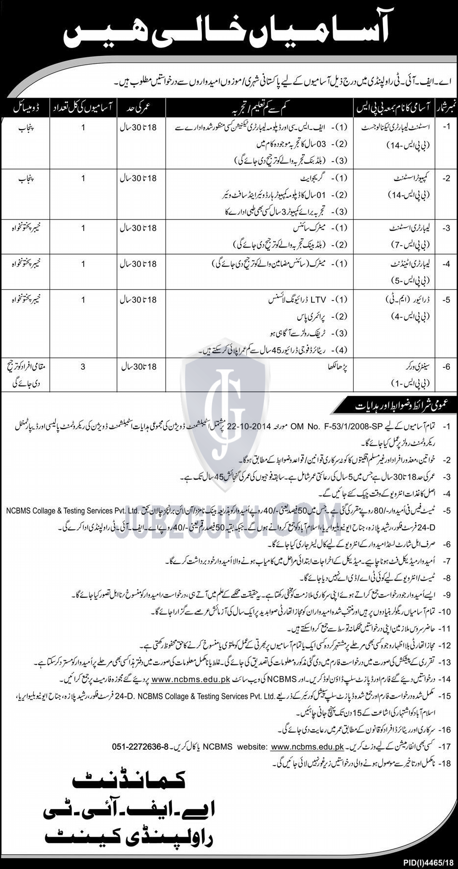 AFIT Rawalpindi Cannt Jobs 2019 Pak Army-thumbnail