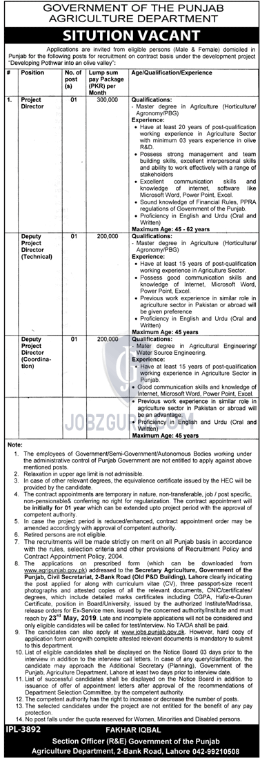 Agriculture Department jobs 2019 Government of the punjab