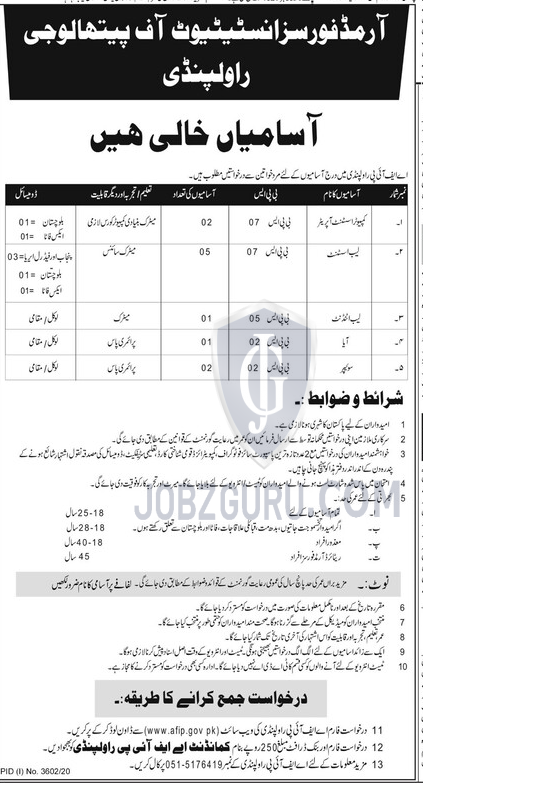 Armed Forces Institute Rawalpindi Latest jobs 2021 Application Form