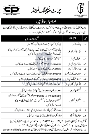 Cherat Packaging Limited Jobs 2019