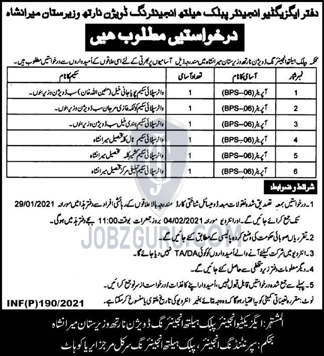 Executive Engineering Office Wazirstan Latest Jobs 2021 in KPK on January, 2021 | Government