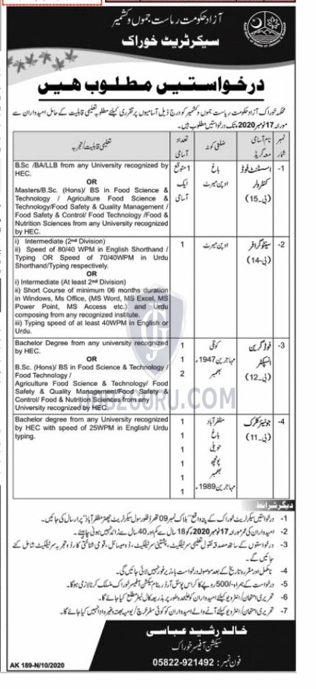 Food Department Latest Jobs 2020 in Azad Kashmir on October, 2020 | Government