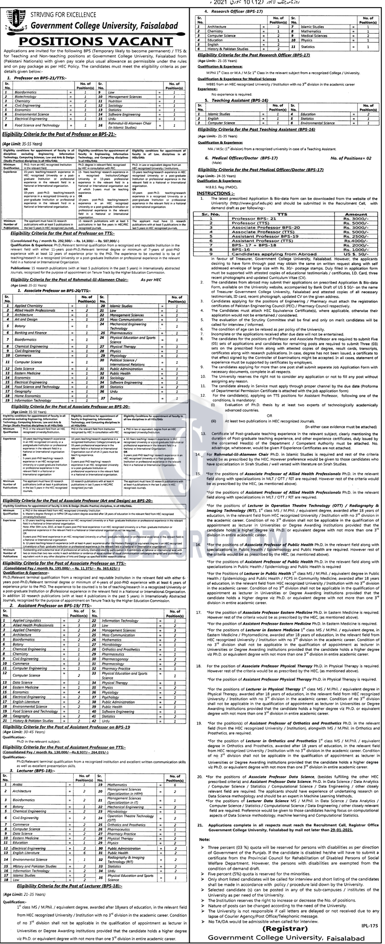 Teaching Assistant in faisalabad on January, 2021 | Education Department