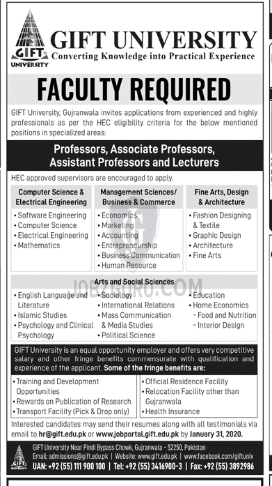 Assistant Professor Fashion Designing And Textile In Gujranwala On 06 January 2020 Education Department Jobzguru