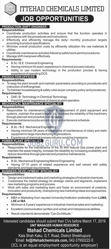 ITTEHAD Chemicals Limited Jobs 2019-thumbnail