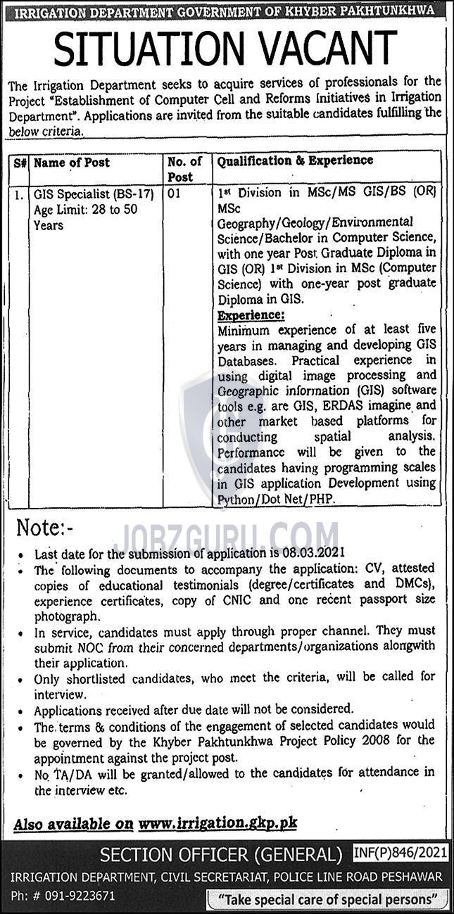 irrigation department latest jobs 2021