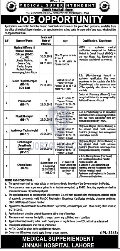 Jinnah Hospital Lahore Jobs 2019 Health Department