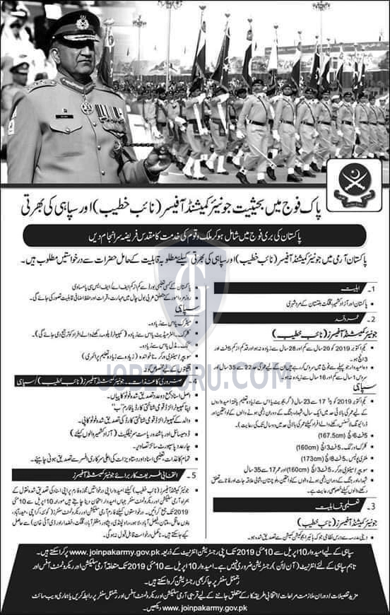 Join Pak Army as Junior Commissioned Officer and Soldier