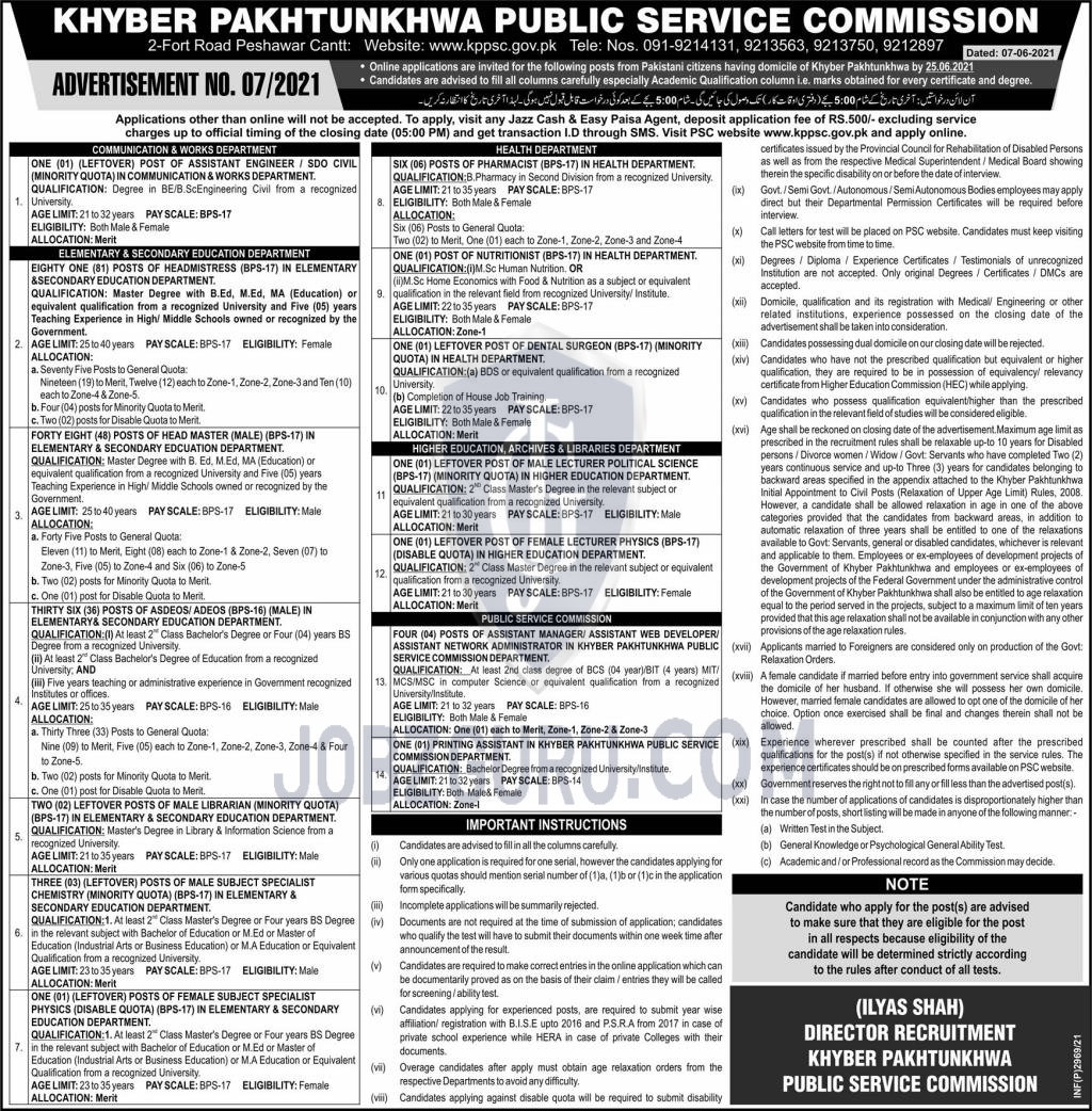KPPSC Latest jobs 2021 Khyber Pakhtunkhwa Public Service Commission-thumbnail