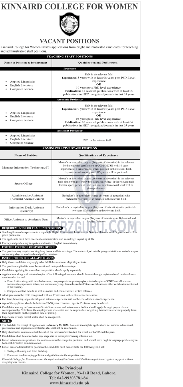 Kinnaird College For Women Latest Jobs 2021 in Lahore on January, 2021 | Education Department