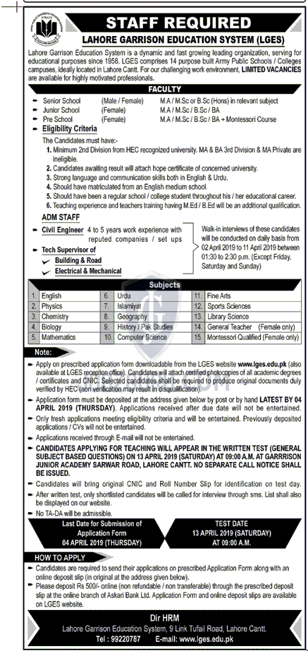 Lahore Garrison Education System Jobs 2019 Teaching Positions