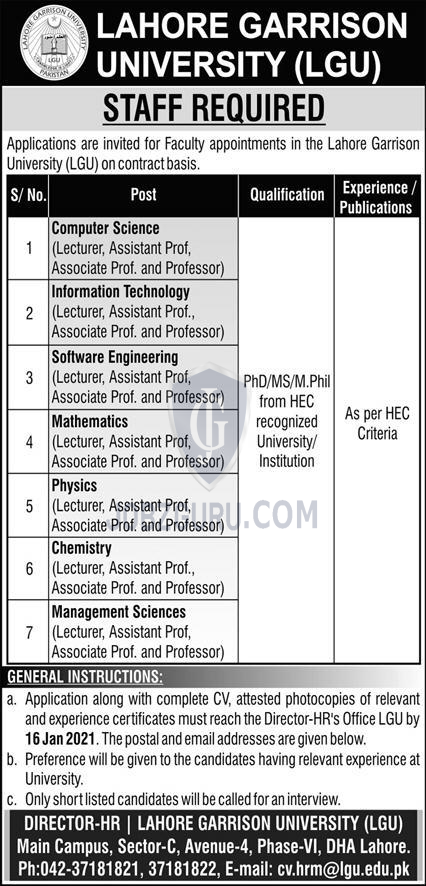 Lahore Garrison University Latest Jobs 2021 in Lahore on January, 2021 | Education Department