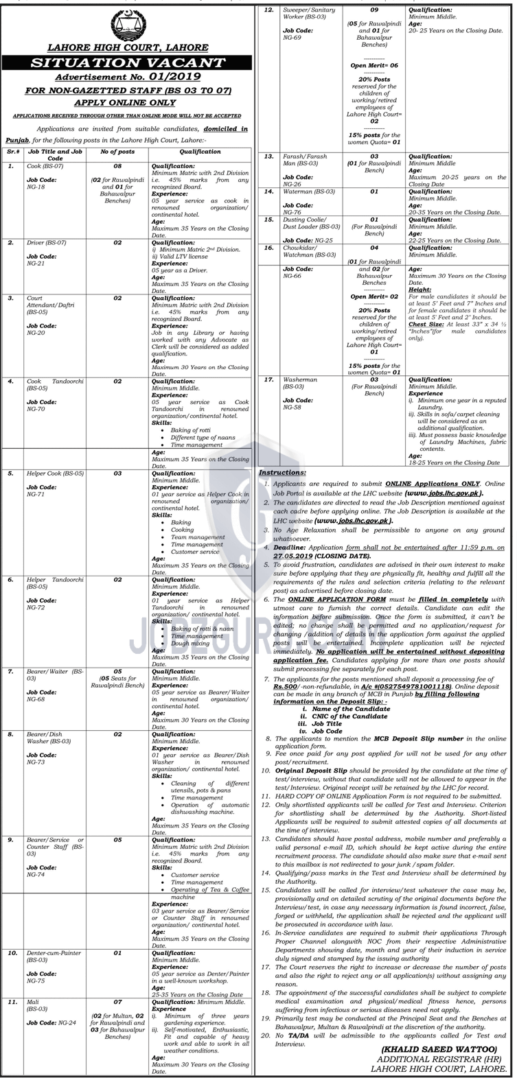 Lahore High Court Jobs 2019 Government of Pakistan Apply online