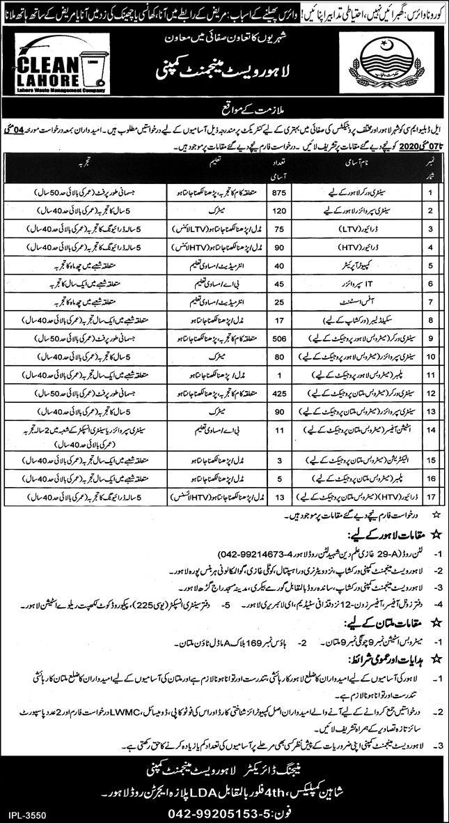 Lahore Waste Management Company Latest Government Jobs in 2020 3