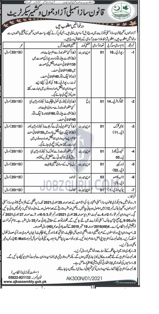 Legislative Assembly Secretariat Latest jobs 2021