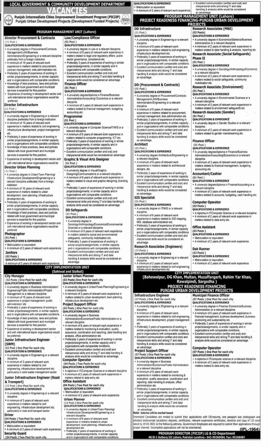 Local Government and Community Development Department Latest jobs 2021-thumbnail