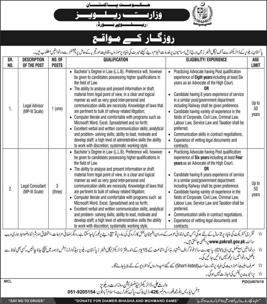 Ministry Of Railway Jobs 2019 Government of Pakistan-thumbnail