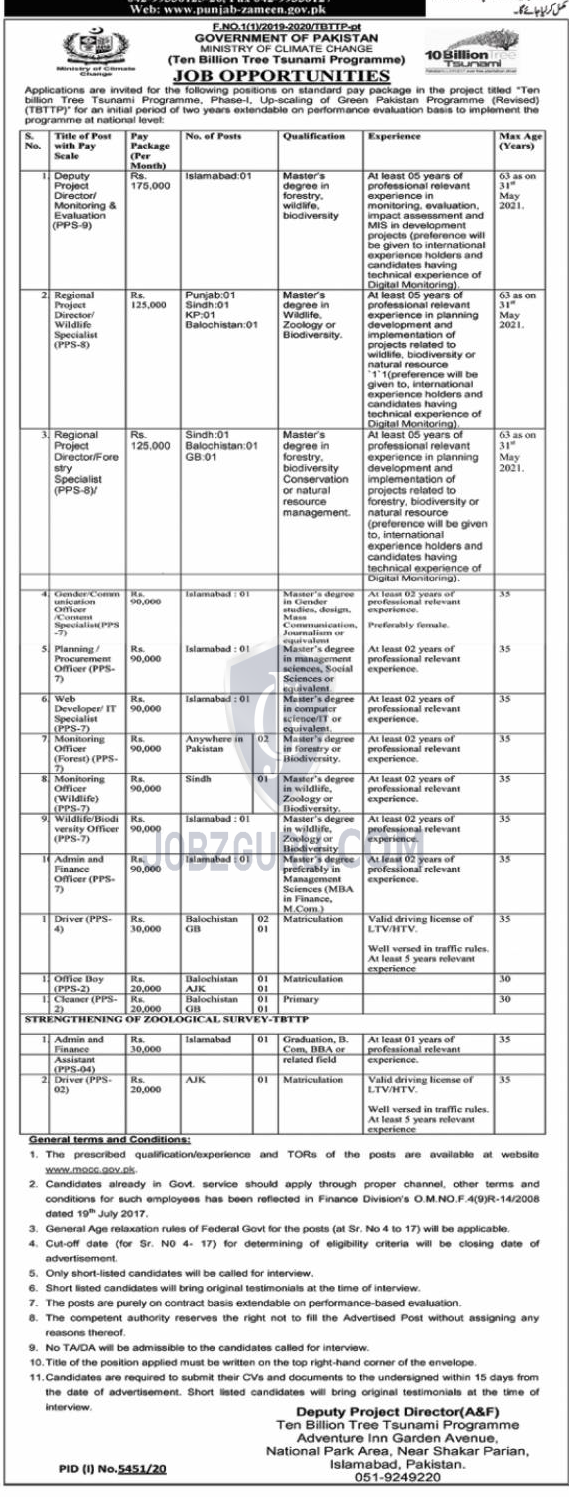 ministry of climate change jobs 2021 government pakistan