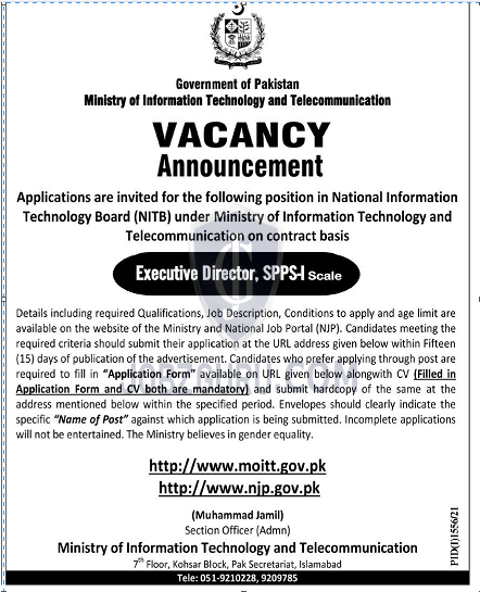 Ministry of Information Technology and Telecommunication Latest jobs-thumbnail
