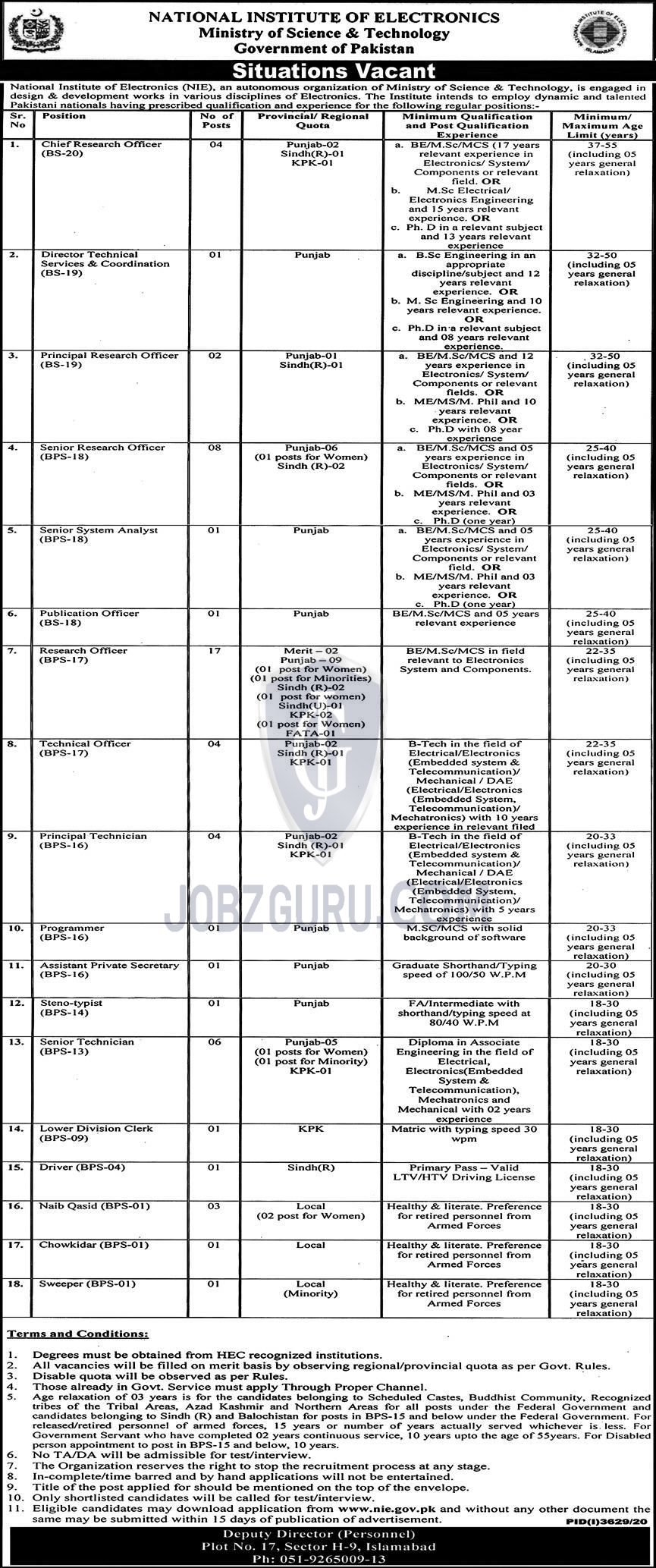 Principal Technician in Islamabad on January, 2021 | Government