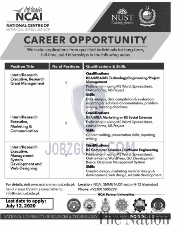 Intern Research Executive Management System Development Web Design In Islamabad On 28 June 2020 Education Department Jobzguru