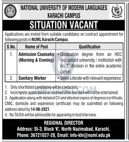 NUML Latest jobs 2021 National University of Modern languages Karachi-thumbnail