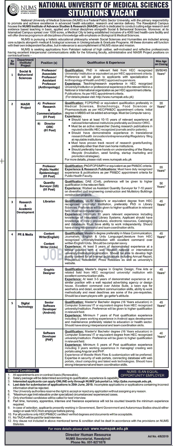 NUMS Latest Jobs 2019 National University of Medical Sciences
