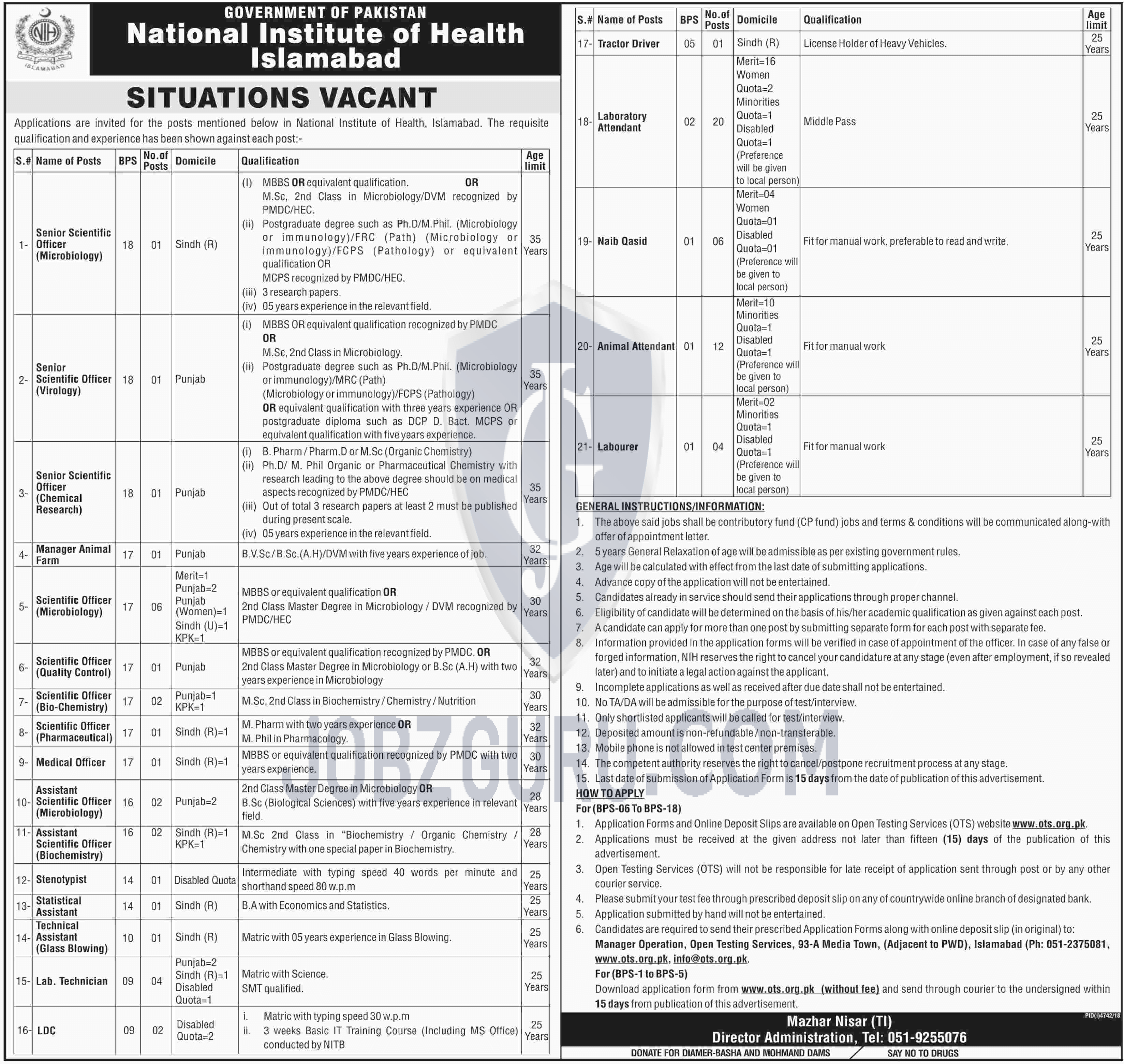 National Institute of Health Islamabad Jobs 2019 Government of Pak