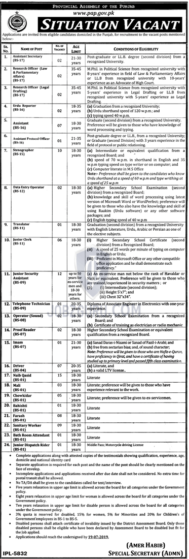 PAP Jobs 2019 Provincial Assembly of the Punjab