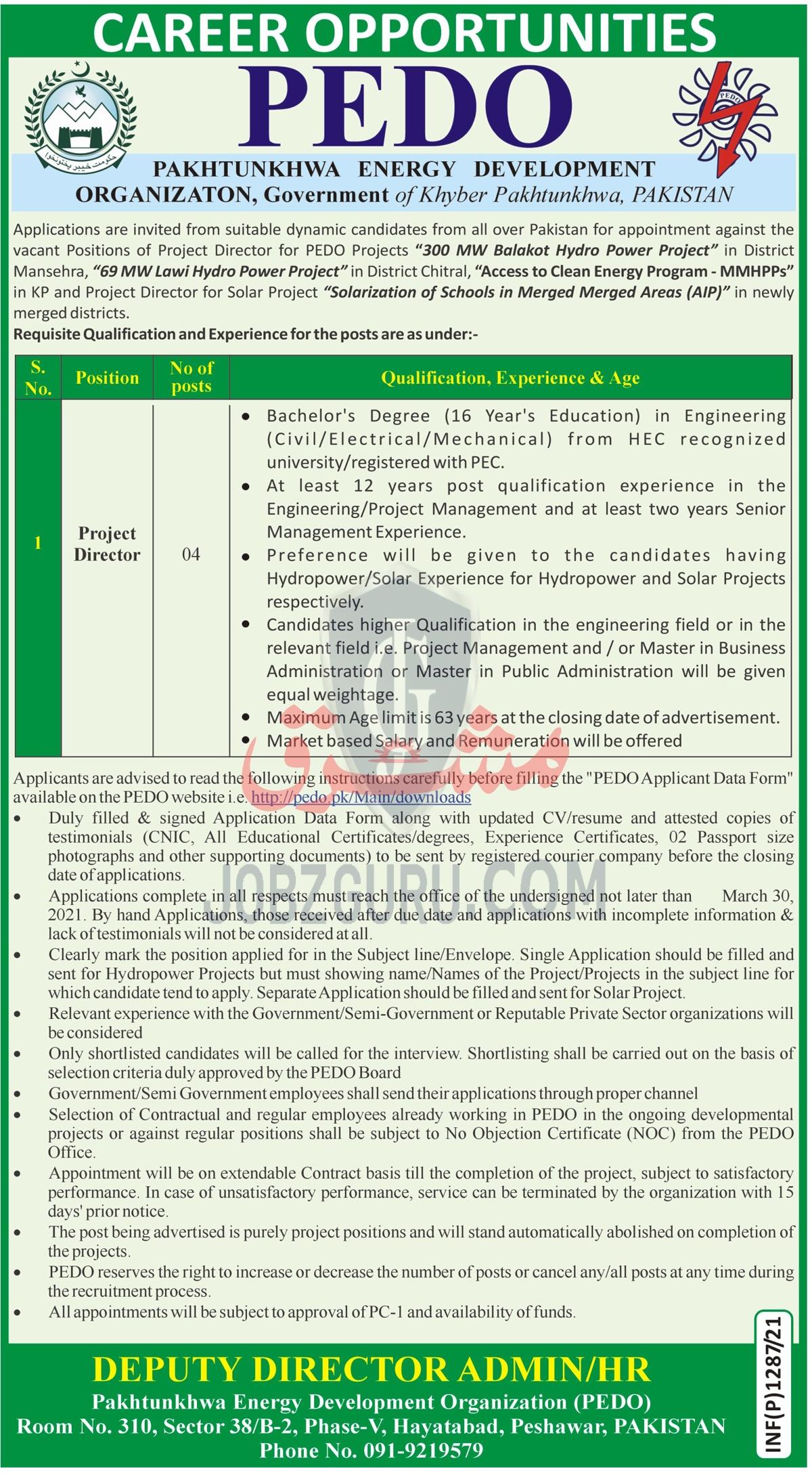 PEDO Pakhtunkhwa Energy Development Organization Latest jobs 2021-thumbnail