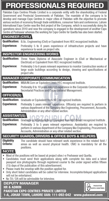pakistan expo centres private limited latest jobs