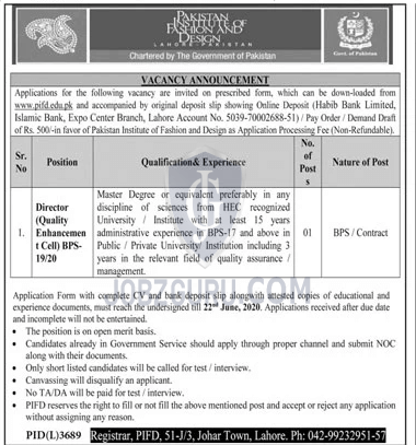 Pakistan Institute Of Fashion Design Latest Jobs 2020 In Punjab On 06 June 2020 Government Jobzguru
