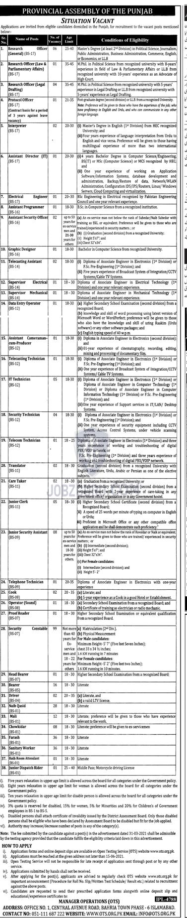 Provincial Assembly of Punjab Latest jobs 2021 Through OTS-thumbnail