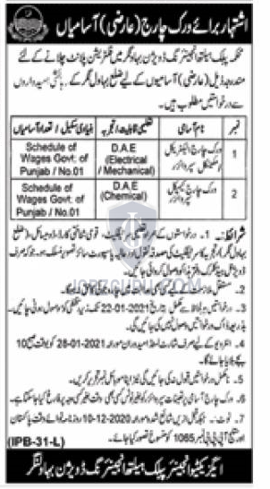 Work Charge Chemical Supervisor in Punjab on January, 2021 | Government