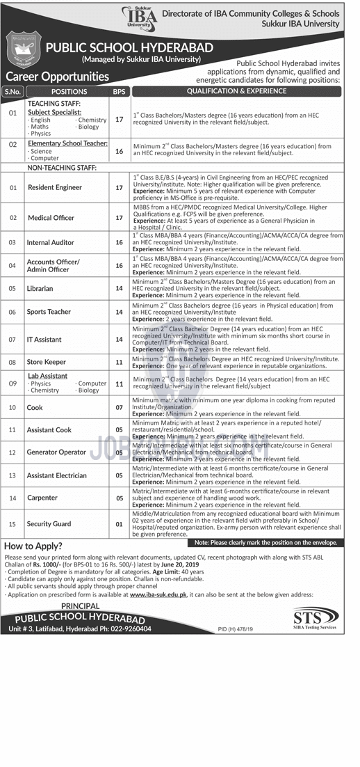Public School Hyderabad Latest Jobs 2019 Teaching and Nonteaching