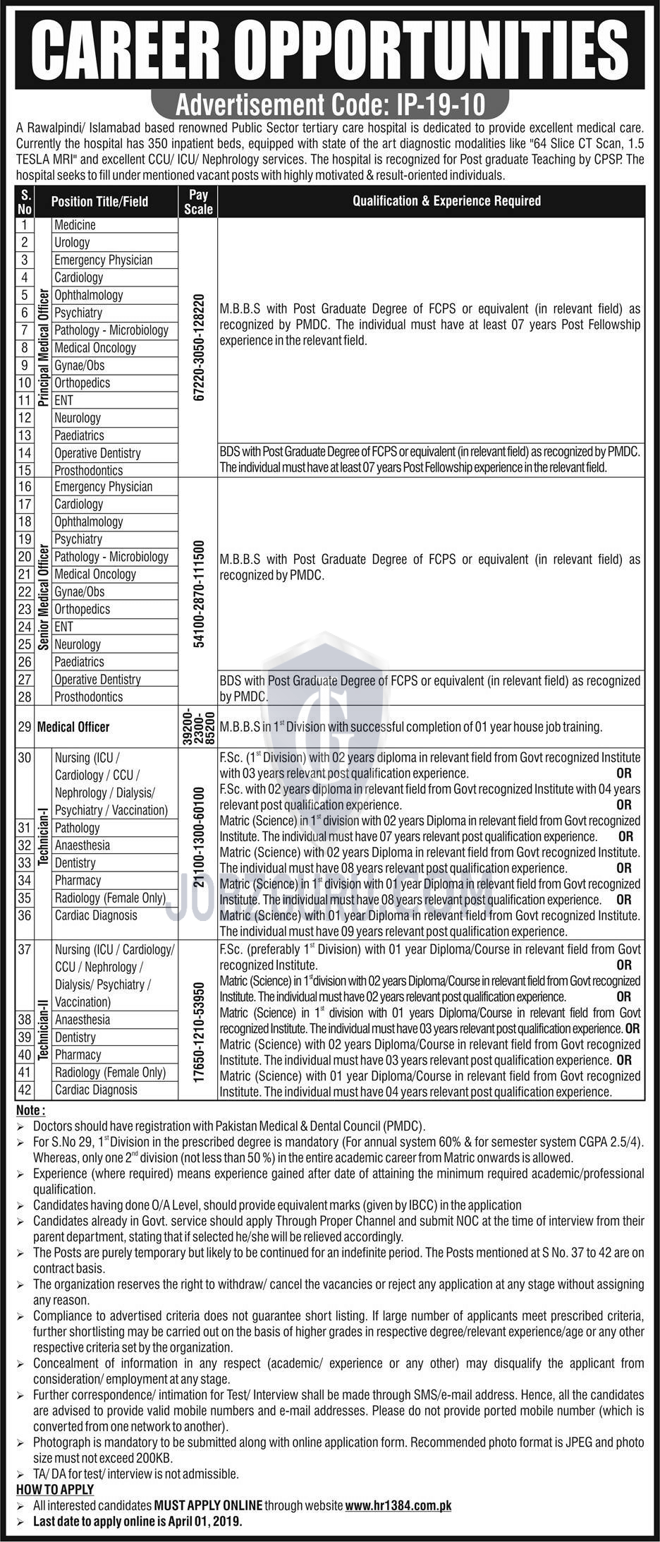 Public Sector Hospital Jobs 2019 HR1384 Apply online