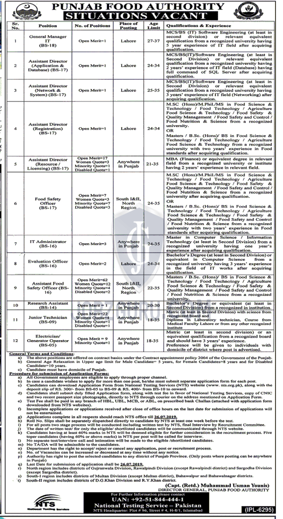 Punjab Food Authority Latest Jobs 2019 Download Application Form NTS