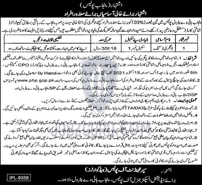 Punjab Highways Petrol Police Latest jobs-thumbnail