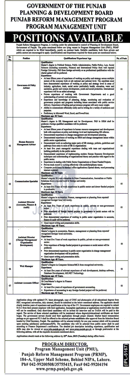 Punjab Planning and Development Board Jobs 2019