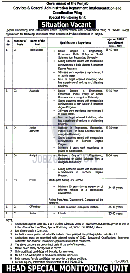 S&GAD Department Jobs 2019 Govt Of Punjab - Jobzguru