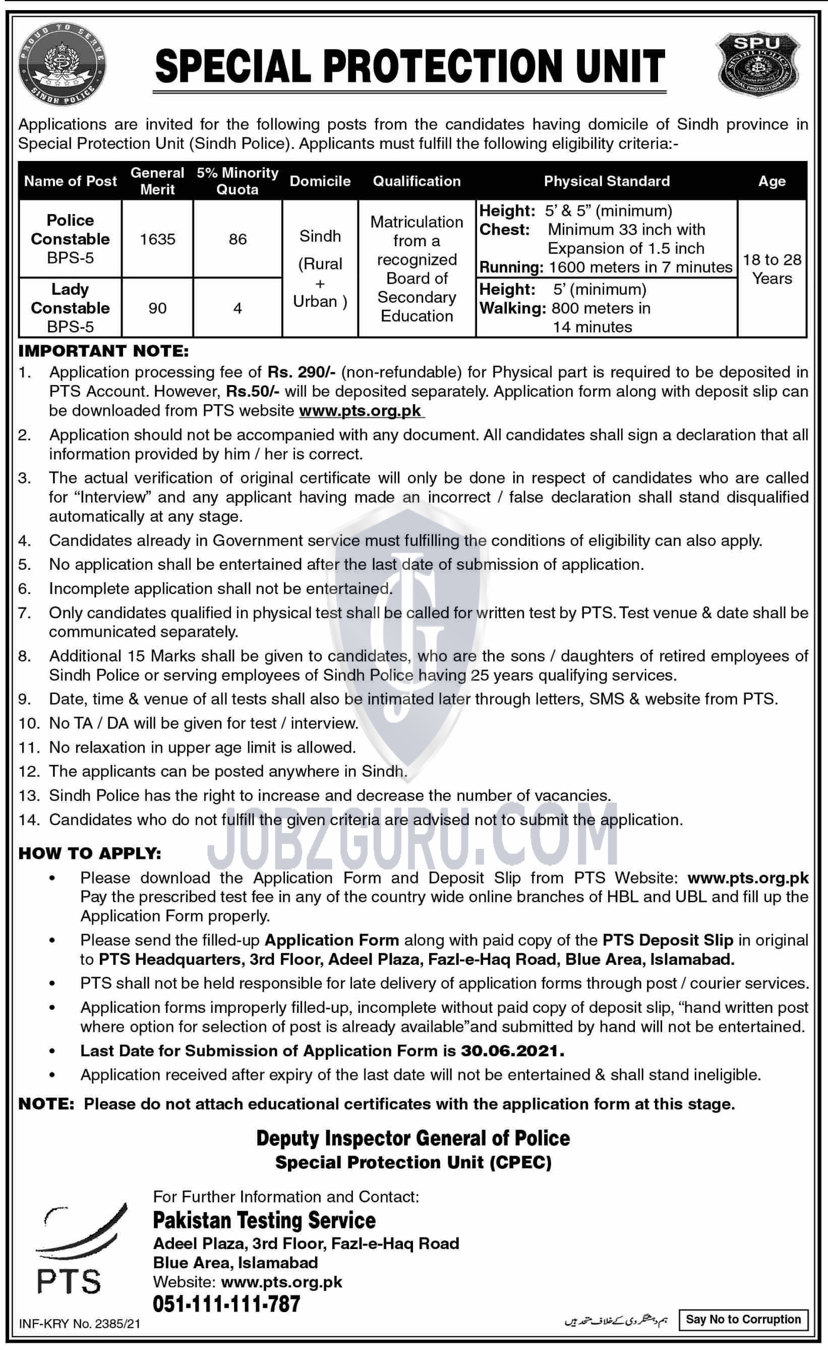 Special Protection Unite SPU Latest jobs 2021 Sindh Police-thumbnail