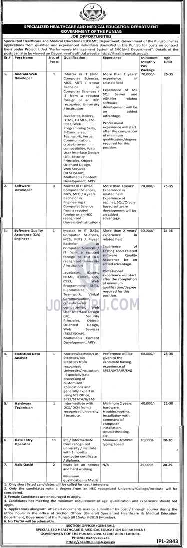 Specialized HealthCare and Medical Education Department Jobs 2019