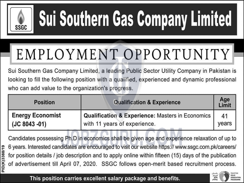 Sui Southern Gas Company Limited Latest Jobs 2020
