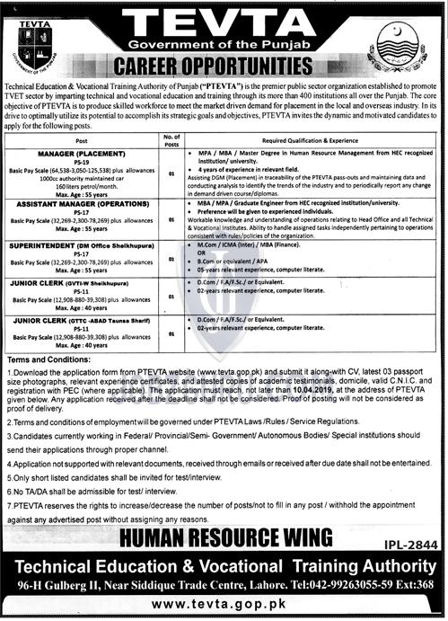 TEVTA Jobs 2019 Government of Punjab