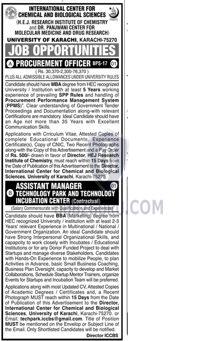 Assistant Manager Technology Park in Karachi on January, 2021 | Government