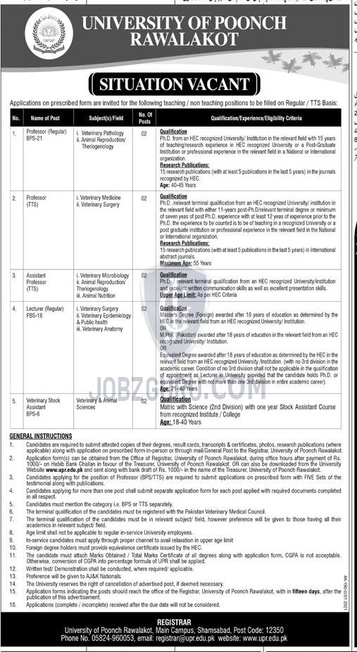 University Of Poonch Rawalakot Latest Jobs 2021 in Azad Kashmir on January, 2021 | Education Department